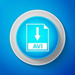 White AVI file document icon isolated on blue background. Download AVI button sign. Circle blue button with white line. Vector Illustration