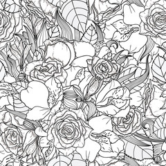 Beautiful seamless monochrome floral background with flowers and leaves. EPS8.