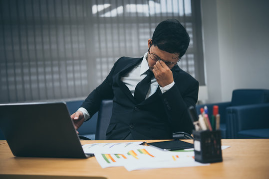 Asian businessman stressed from work,Furious from hard work,Boss complain about project,Thailand people,Young man stressful,Clerk fail from job