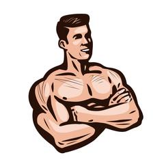 Bodybuilder man, vector illustration. Gym, sports club logo