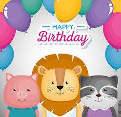 happy birthday card with cute animals vector illustration design