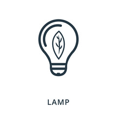 Lamp icon. Flat style icon design. UI. Illustration of lamp icon. Pictogram isolated on white. Ready to use in web design, apps, software, print.