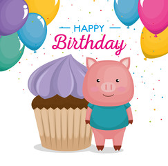 happy birthday card with cupcake and cute piggy vector illustration design