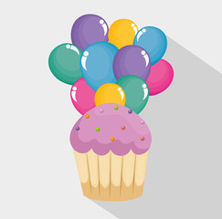 happy birthday card with cupcake and balloons air vector illustration design