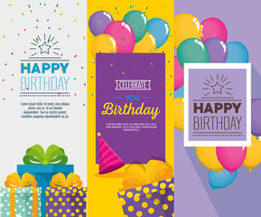 birthday celebration set icons vector illustration design