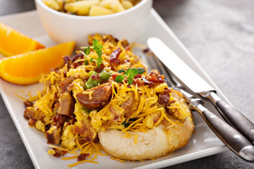 Breakfast biscuits with scrambled eggs
