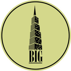 vector high-rise commercial building sticker