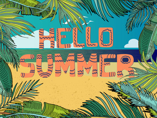 Vector Summer Tropical Background With Beach, Sea, Palm Leaves. Cartoon landscape. Hand Written Text Hello Summer.