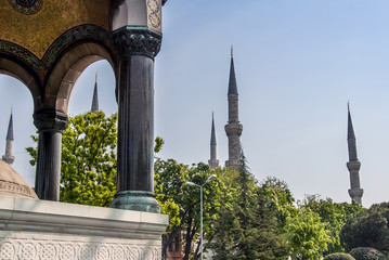 Istanbul, Turkey, 9 May 2006: The Sultan Ahmed Mosque is an Ottoman mosque in the Fatih district of Istanbul.
