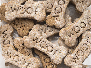 Homemade Dog Treats with the word Woof, Closeup