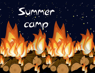 Summer camp bunner template with nature evening landscape and text.