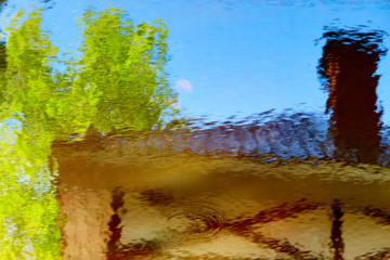 The reflection of the buildings in the water. Abstract pictures.