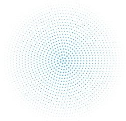 Abstract blue halftone pattern. Futuristic panel. Grunge dotted backdrop with circles, dots, point.