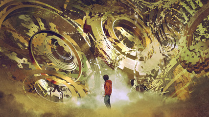 boy standing and looking at broken golden gear wheels, digital art style, illustration painting