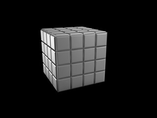 3d illustration of cube with empty keyboard buttons, isolated black