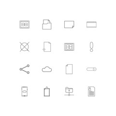 Files And Folders, Sign linear thin icons set. Outlined simple vector icons