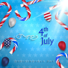 Happy 4th of July Independence Day greeting card. Happy independence day of America vector design.