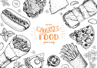 Fast food sketch collection. Vector illustration. Junk food set. Engraved style illustration. Fast food top view frame.