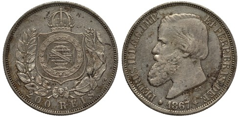 Brazil Brazilian coin 200 two hundred reis 1867, crowned shield flanked by branches, Emperor Pedro II left, silver,