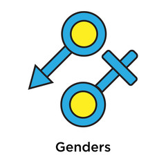 Genders icon vector sign and symbol isolated on white background