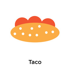 Taco icon vector sign and symbol isolated on white background