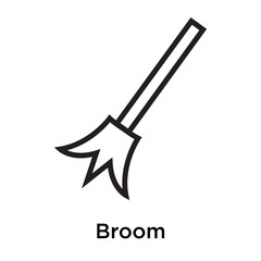 Broom icon vector sign and symbol isolated on white background