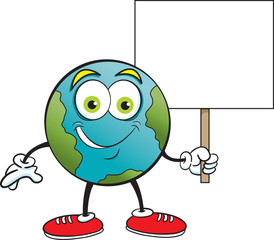 Cartoon illustration of the earth smiling while holding a sign.