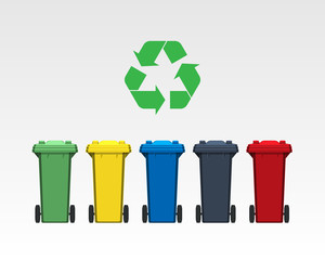 Different colors recycle bins isolated on white background. Flat style. Vector.