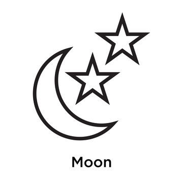 Moon icon vector sign and symbol isolated on white background
