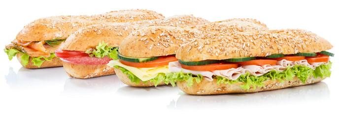 Baguette Brötchen belegt mit Schinken Salami Käse Lachs Fisch Sandwich frisch Vollkorn...