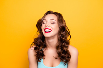 Portrait of glad funky woman with modern hairdo close eyes laughing isolated on yellow background. Rest relax leisure fun concept