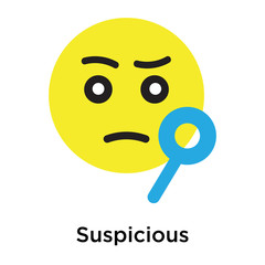 Suspicious icon vector sign and symbol isolated on white background