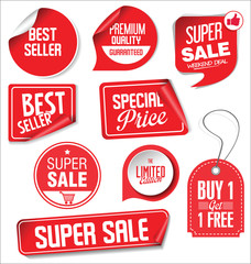 Sale stickers and tags red design illustration