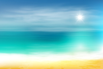 Beach and tropical sea with bright sun. EPS10 vector.