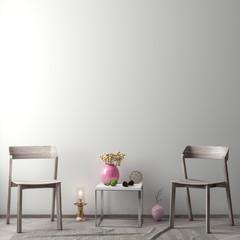 Mock up poster frame in hipster interior background, Scandinavian style, 3D illustration