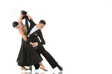 Canvas Prints Dance School ballroom dance couple in a dance pose isolated on white