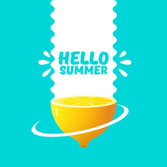 Vector Hello Summer Beach Party Flyer Design template with fresh lemon isolated on azure background. Hello summer concept label or poster with orange fruit and typographic text.