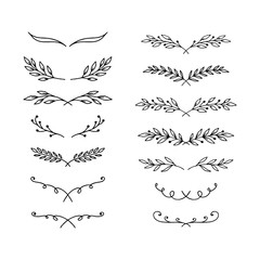 Hand drawn vector laurels, flourishes and borders