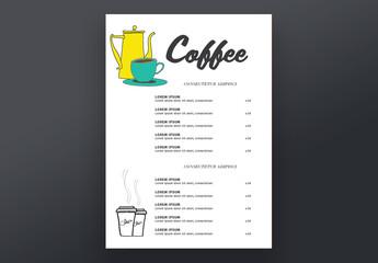 Coffee Shop Menu Layout