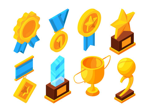 Medals of honor and different sport trophies. Isometric vector illustrations