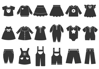 Vector monochrome illustrations of children clothes
