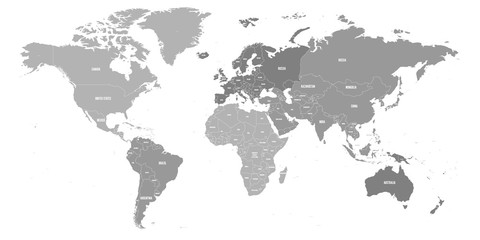 Wall Mural - Map of World. Political map divided to six continents - North America, South America, Africa, Europe, Asia and Australia. Vector illustration in shades of grey with country name labels.
