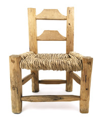 Isolated Old Woven Straw Wood Chair
