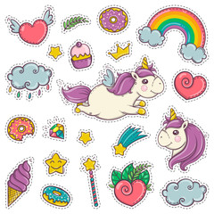 Magic wand, unicorn, rainbow, sweets, ice cream. Set of stickers patches badges pins prints for kids. Cartoon style.