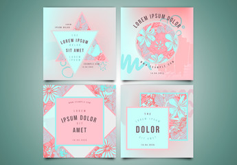 4 Social Media Post Layout with Bright Floral Elements