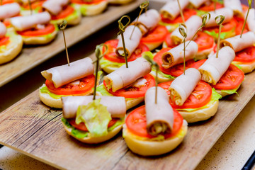 Catering. Off-site food. Sandwiches, hamburgers and snacks