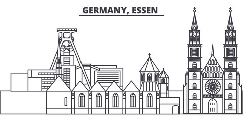 Germany, Lessen line skyline vector illustration. Germany, Lessen linear cityscape with famous landmarks, city sights, vector design landscape.
