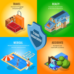 Isometric Travel Insurance Service Concept