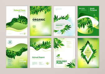 Set of brochure and annual report cover design templates on the subject of nature, environment and organic products. Vector illustrations for flyer layout, marketing material, magazines, presentations Wall mural