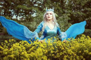 Portrait of a beautiful elf woman in a blue dress.